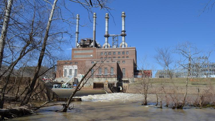 The Duke Energy power plant on the Dan River in North Carolina. Storage ponds to the left of the plant leaked some 39,000 tons of toxic coal ash into the river, sparking a national outcry.