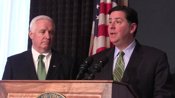 Pittsburgh will remain under Act 47 oversight, said Gov. Tom Corbett, left, and Mayor Bill Peduto during a news conference Thursday afternoon.