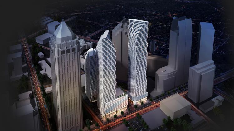 A New York development team this week unveiled its $650 million mixed-use project with a trio of twisting towers that aims to bring thousands of new residents to Midtown.