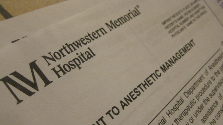 A consent form from Northwestern Memorial Hospital.