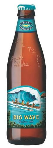 Kona Brewing Co,'s new retail packaging for its Big Wave Ale features embossed glass bottles and die-cut labels.