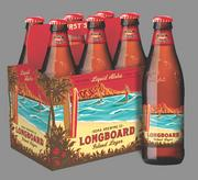 Kona Brewing Co,'s new retail packaging for its Longboard Island Lager features embossed glass bottles and die-cut labels.