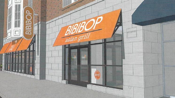 The Asian chain is seeking approval of seven orange awnings as part of a proposed downtown restaurant.