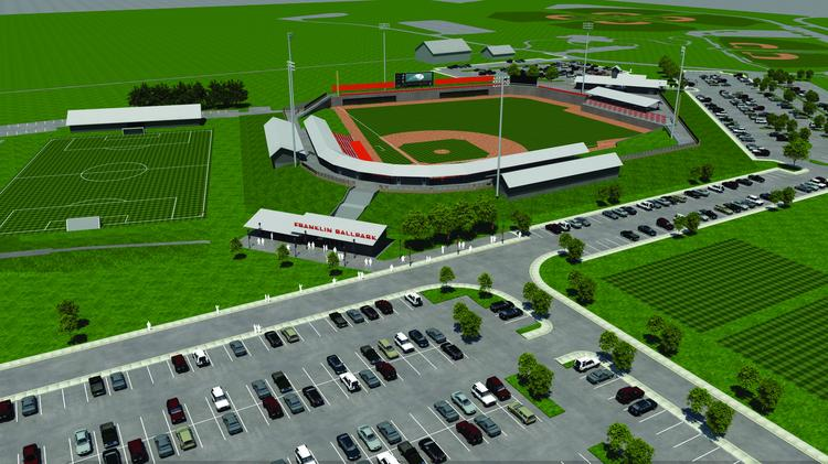 A rendering of the proposed baseball stadium