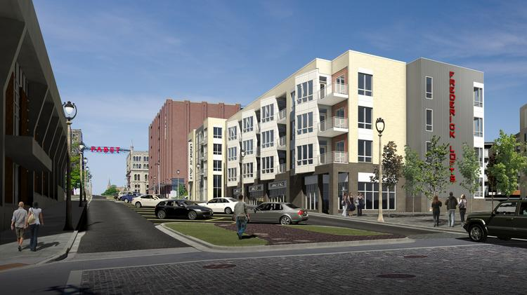 A rendering of the Frederick Lofts in The Brewery complex.