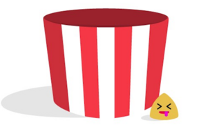 An altered Popcorn Time logo used to sign the Goodbye note on the site's homepage.