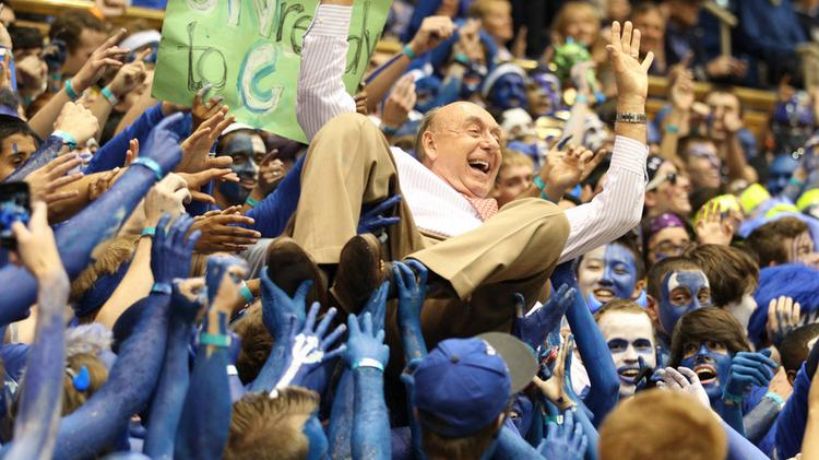 ESPN's Dick Vitale doing what any 72-year-old would do before the Duke-Carolina game at Cameron Indoor Stadium in 2012. Vitale turns 75 later this year.