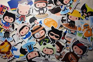 Variations on the GitHub logo are shown in a collage.
