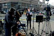 One of the many news crews from around the world reporting on the Boston Marathon bombings. This one was just down from the finish line at the corner of Dartmouth and Huntington Streets.