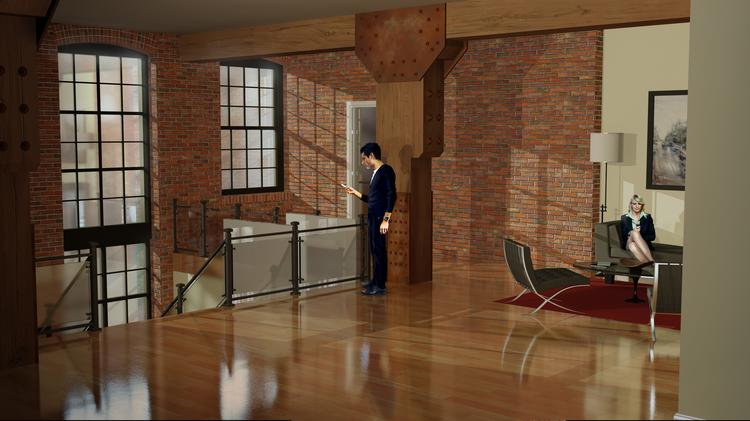 A rendering depicts how the interior of a warehouse at 111 W. Heath St. will look after it is converted to 59 apartments.