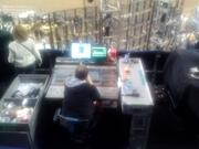 """The control board operated by Keith Urban's sound man. He sits here, COO Leroy Shafer said, """"so that he's hearing what the audience is hearing."""" Sitting to the right is a decibel meter. By law, the rodeo concerts cannot exceed 98 decibels."""