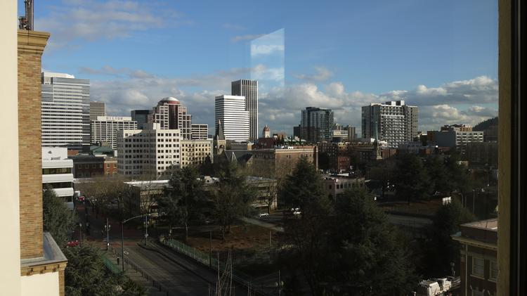 The view from Forge Portland's office at 1410 S.W, Morrison St. The incubator is targeting nonprofits and social impact entrepreneurs to fill the 6,000-square-foot space.