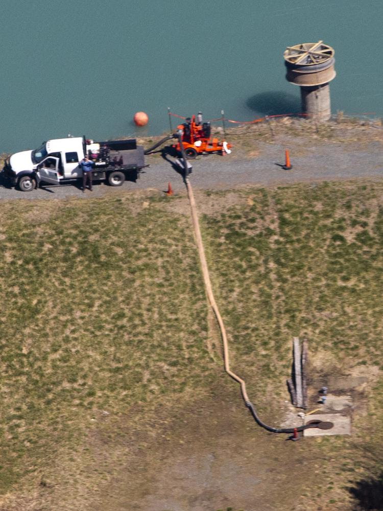 Duke Energy crews used temporary pumps last week to take water out of a coal ash pond at the Cape Fear Plant.
