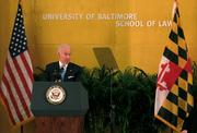 Vice President Joe Biden speaks Tuesday evening at an event celebrating the opening of the University of Baltimore's new $114 million law center.