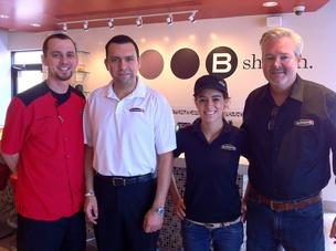 From left: Burger 21 Chef Mike Reemes; Daniel Torres, owner of the Orlando franchise; Brittany Reyes, manager of the new location; and Jim Sullivan, vice president of Burger 21.