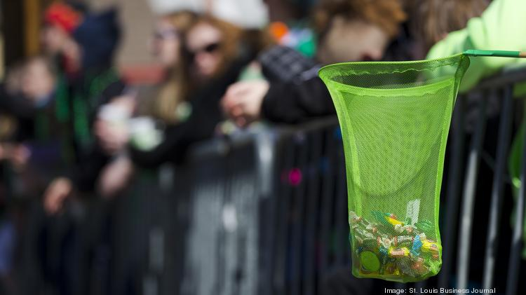 MARCH 17, 2014 - ST. LOUIS, MO: Fishing net holds candy thrown from floats at the 2014 Ancient Order of Hibernians St. Patrick's Day parade on March 17, 2013 in St. Louis, Missouri.