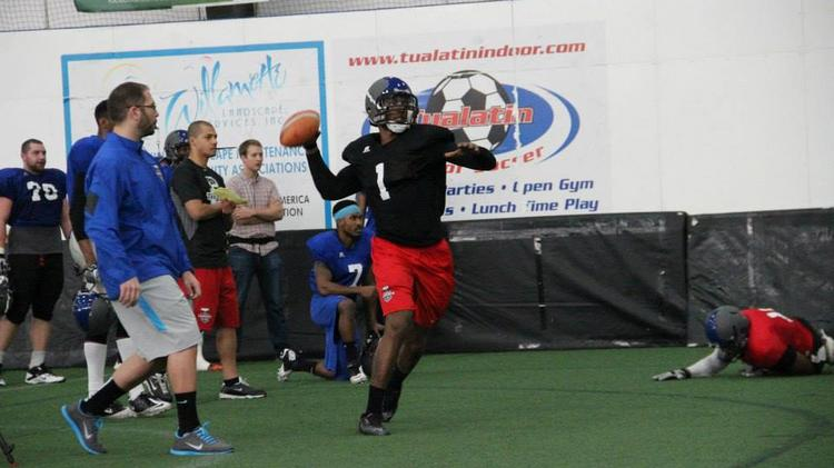 Former Oregon Ducks quarterback Darron Thomas — shown here during training camp in Tualatin — will be the featured attraction for the Portland Thunder. The team makes its Arena Football League debut tonight against the San Jose SaberCats at the Moda Center.