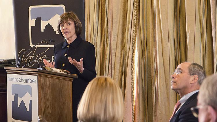 California Department of Food and Agriculture Secretary Karen Ross speaks at the Metro Chamber's legislative summit luncheon.