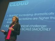 Nouvola CEO Paola Moretto, making a pitch at the Bend Venture Conference, collected the top prize at the Angel Oregon competition. It also won the Bend event's launch stage competition, which included a $250,000 prize.
