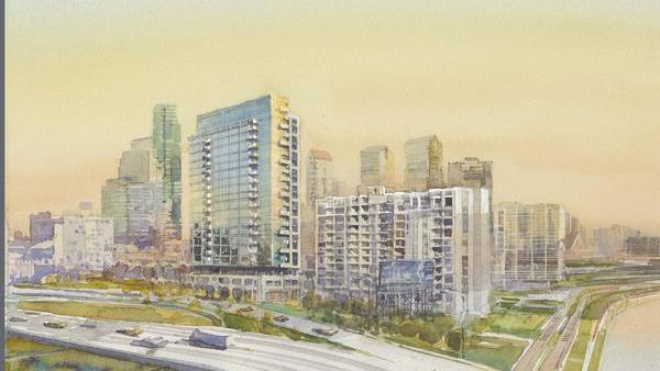 A rendering of the Edgewater complex. The existing apartment building is in the forefront. A taller apartment tower can be built on an adjacent parcel.