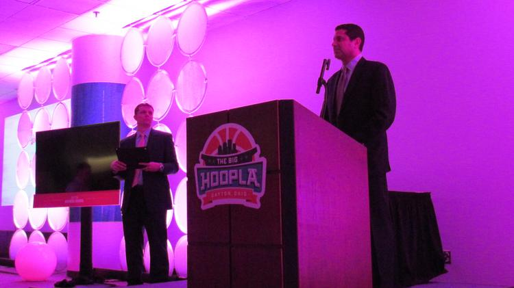 About 100 attended the Dayton Hoopla kick-off event at University of Dayton River Campus as the NCAA First Four Local Organizing Committee honored several major community contributors to the First Four effort. JP Nauseef, chair of the LOC, gave out awards.