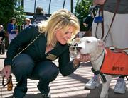 A furry friend gets some loving at the event.