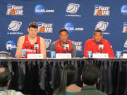 Players from North Carolina State University talk before their game Tuesday night at in the First Four in Dayton.