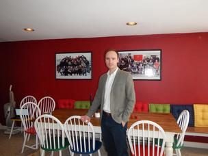 Dr. Tryggvi Thorgeirsson, CEO of Goodlifeme.com, in a room at Innovation House in the Magnolia section of Gloucester, Mass.