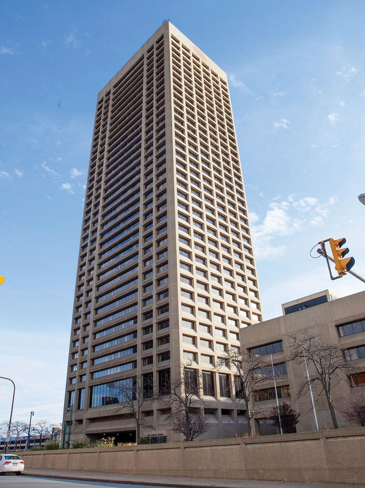 One Seneca Tower is the dominant feature of Buffalo's skyline.