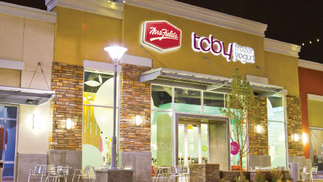 Denver-based Famous Brands is planning up to 50 co-branded stores with its TCBY and Mrs. Field's Cookies concepts.