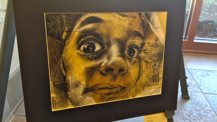 """""""HEY COLLIN!"""" mixed media art by Shuyi Sun, 16, an 11th grader at White Station High. The piece will be on display at Magna Bank's Oak Court branch through March 21 along with other winners of the 49th Annual Mid-South Scholastic Art Awards."""