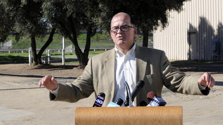 Sacramento Republic FC president Warren Smith seen earlier this year announcing plans to build his team's new field at Cal Expo.