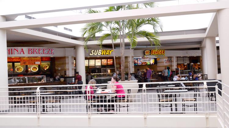 The food court at Orlando Fashion Square mall features restaurants like China Breeze, Subway and McBurger.
