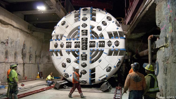 One of two tunnel boring machines being used to chew away under San Francisco streets to complete the Central Subway.