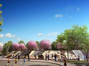 The inscribed memorial wall is clear in this rendering of the future Chuck Brown Memorial Park in Ward 5.