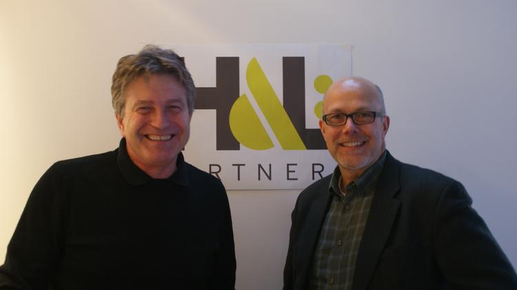 Josh Nichol, CEO of H&L Partners, and Mark Schaeffer, president of H&L Partners in St. Louis and Boston, at their newest agency office in Boston.