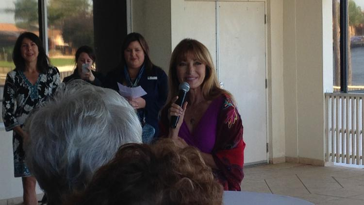 Jane Seymour speaks at a VIP reception before the awards luncheon.