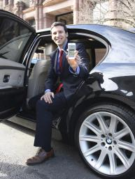 Cincinnati City Councilman P.G. Sittenfeld sits in an uberBLACK car.