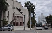 The nearby Temple Emanu-El on Washington Avenue with The Delano seen in the distance on Collins Avenue. The latter is part of a strip of hotels east of the center that currently serve convention goers. Some residents have emphasized the need for the convention center to be better connected to the east side of the neighborhood and have questioned whether the plans do that.
