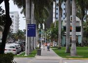 The east side of the convention center is located on Washington Avenue, which is only a few blocks from the ocean. Washington Avenue is a main thoroughfare in Miami Beach.