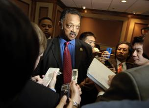 Reverend Jesse Jackson Sr. speaks to the media following the Ford Motor Co. annual meeting in Wilmington, Delaware, on Thursday, May 14, 2009.