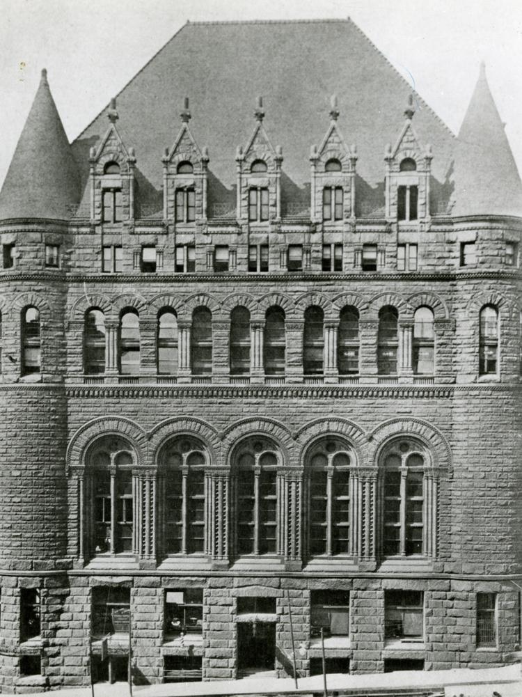 The Vine Street side of the former Cincinnati Chamber of Commerce Building, which was destroyed in a fire.