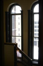 Stairwell and windows in Pioneer Building.
