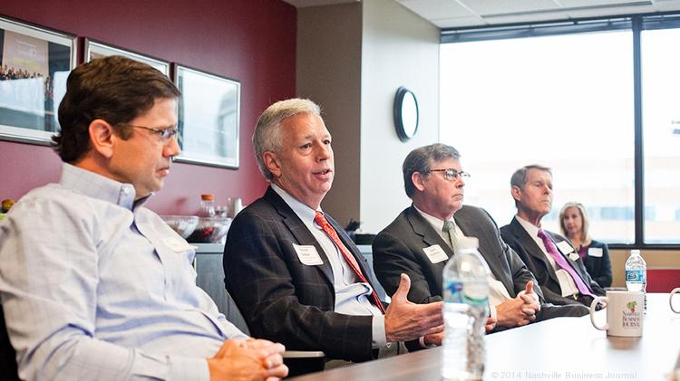 Nashville commercial real estate executives, from left, Jay Turner, David Baker, Bert Mathews and Tom Frye were part of the NBJ's roundtable on commercial real estate.