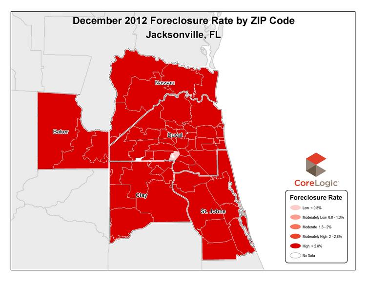 Jacksonville's foreclosure rate fell less than a half percentage point in December 2012.
