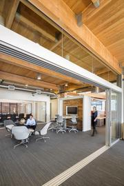 Open areas and exposed beams define Lease Crutcher Lewis's offices at the Culver building in downtown Portland.