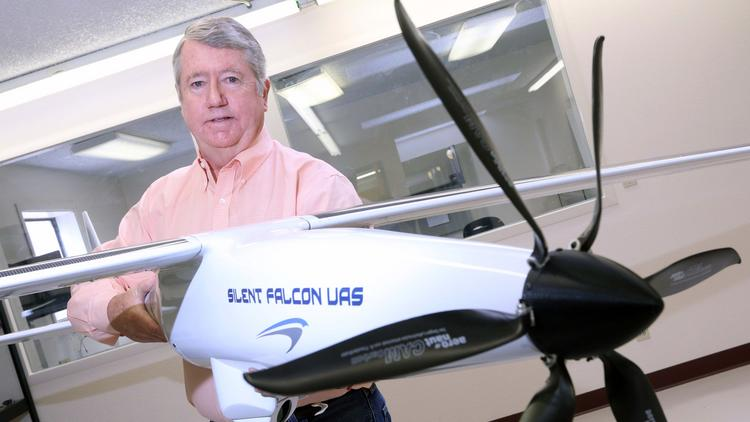 John Brown is the president of Silent Falcon, which debuted a new drone Monday at the Association for Unmanned Vehicle Systems International 2014 conference in Orlando. An older drone model appears in this file photo.