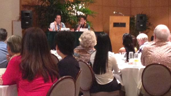 Scott Seu, Hawaiian Electric Co. vice president of energy resources and operations, and Colton Ching, vice president of energy delivery, were the speakers at a Hawaii Society of Business Professionals luncheon at the Hawaii Prince Hotel Waikiki.