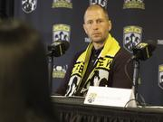 Columbus Crew Head Coach Gregg Berhalter taking a question during the team's season-preview press conference at Crew Stadium on Thursday.