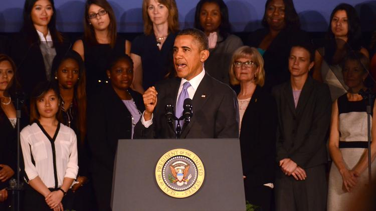 President Barack Obama spoke about the economy and equal opportunities for women at Valencia Community College West campus.